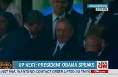 President Obama Shakes Hands with Raul Castro at Nelson Mandela Memorial